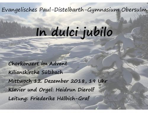 Chorkonzert im Advent am 12. Dezember in der Kilianskirche Sülzbach