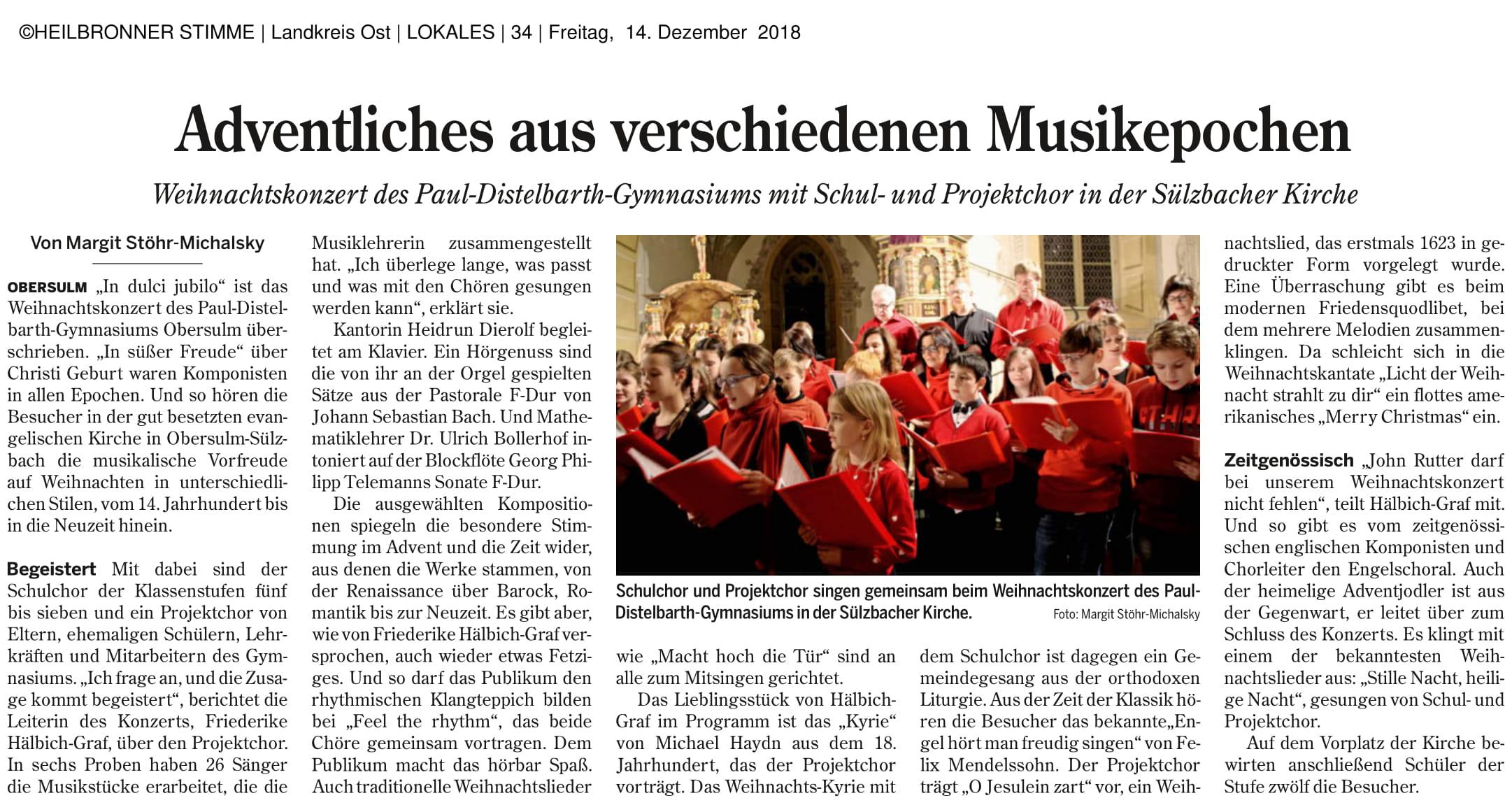 Weihnachtskonzert Artikel mit freundlicher Genehmigung der Heilbronner Stimme