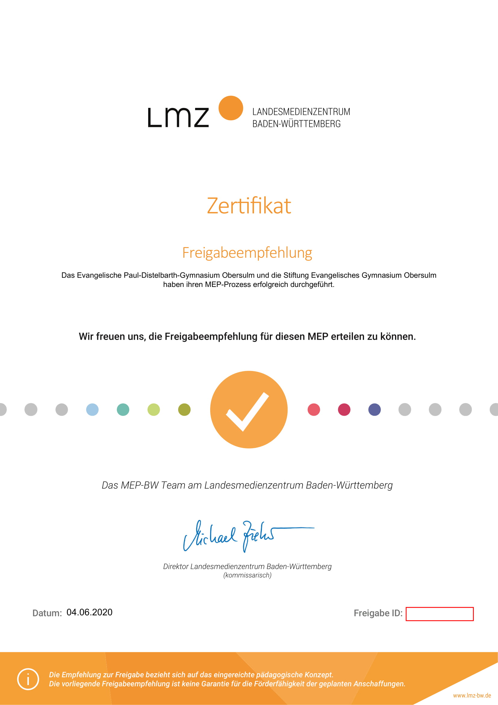 Zertifikat-MEP-Evang. Paul-Distelbarth-Gymnasium- Obersulm-website