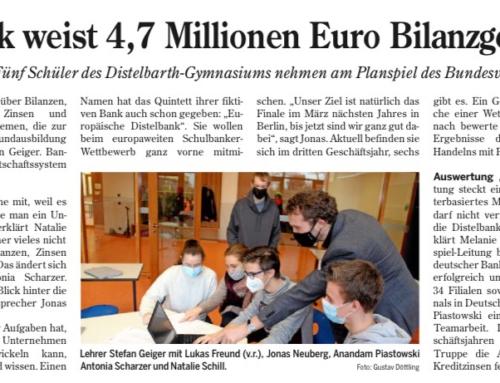 Distelbank weist 4,7 Millionen Euro Bilanzgewinn aus
