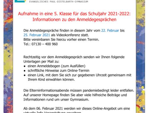 Anmeldegespräche für das Schuljahr 2021-2022